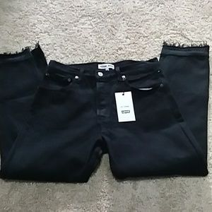 Re/done black Jean's size 28 high rise crop